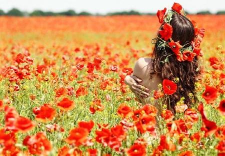 girl in flower field